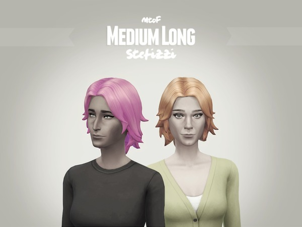 The Sims Resource: Medium Long hairstyle retextured by Stefizzi for Sims 4