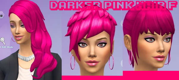 Goth family swag: Darker pink hairstyle for Sims 4