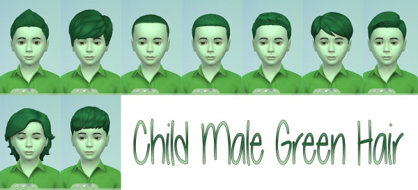 Stars Sugary Pixels: Green hairstyle for boys for Sims 4