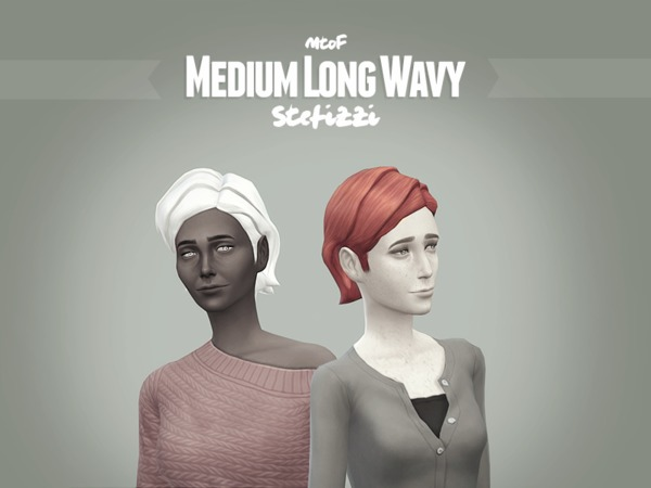 The Sims Resource: Long Wavy Hairstyle retextured for Sims 4
