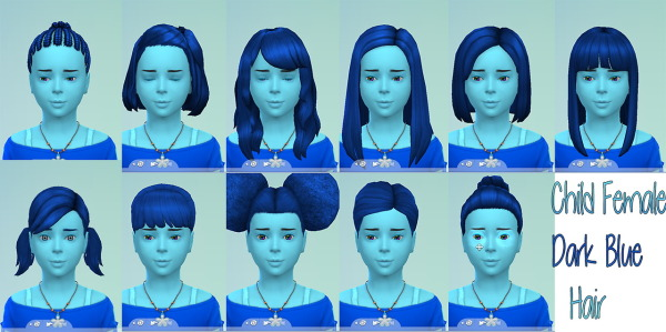 Stars Sugary Pixels: Dark blue hairstyle for girls for Sims 4