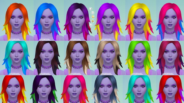 Stars Sugary Pixels: Colorful ombre rocker pack 1 hairstyle recolor for Sims 4