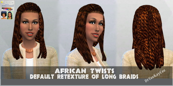 Sim Culture Nation: African twists long braids for Sims 4