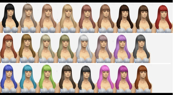 Simmaniacos: Straight hairstyle with bangs  New mesh for Sims 4