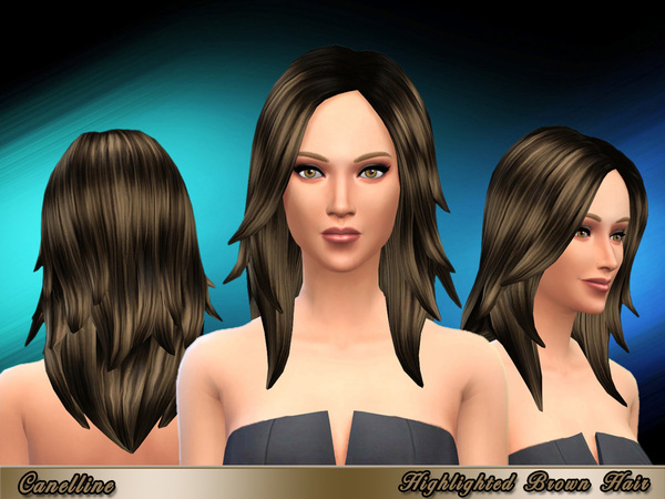 The Sims Resource: Highlighted Brown Hair by Caneline for Sims 4