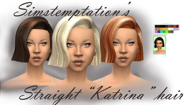 Simstemptation: Straight Katrina hairstyle 2 new mesh choppy and straight for Sims 4