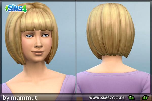 Blackys Sims 4 Zoo: Short bob hairstyle for Sims 4
