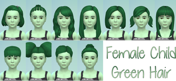 Stars Sugary Pixels: Green hairstyle for girls for Sims 4