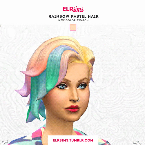 ELR Sims: Rainbow pastel hairs   3 recolors for Sims 4