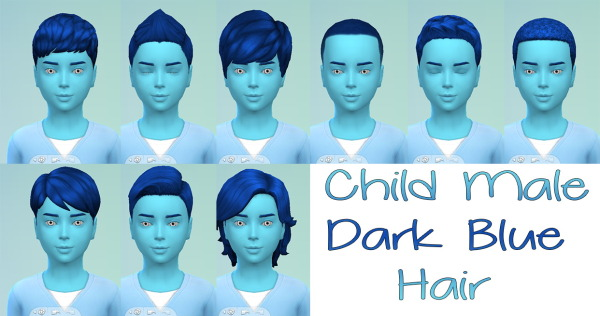 Stars Sugary Pixels: Dark blue hairstyle for boys for Sims 4