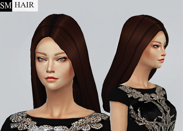 Simmaniacos: Long Straight hairstyle edit mesh and new 7 textures for Sims 4