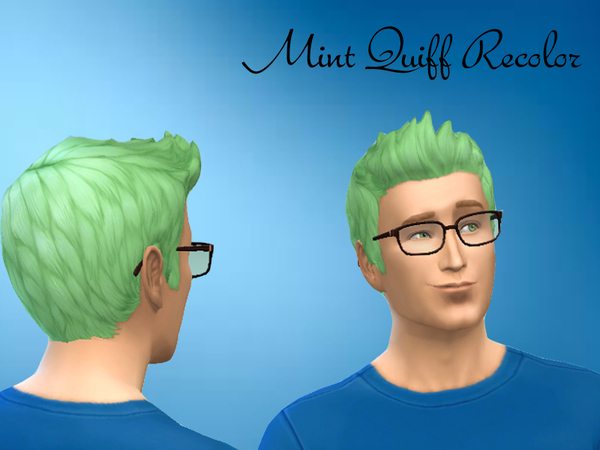 The Sims Resource: Mint Quiff hairstyle recolored by KA Sims for Sims 4