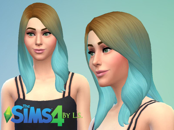 The Sims Resource: Ombre Hairstyle by LadyShadow for Sims 4