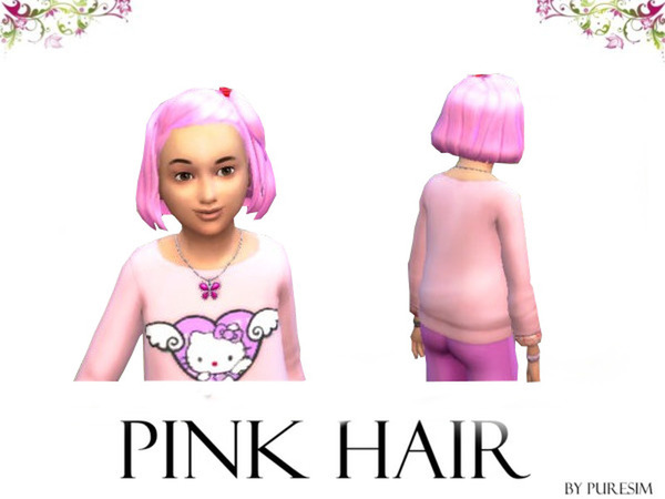 The Sims Resource: Pink Hairstyle For Girls by Puresim for Sims 4