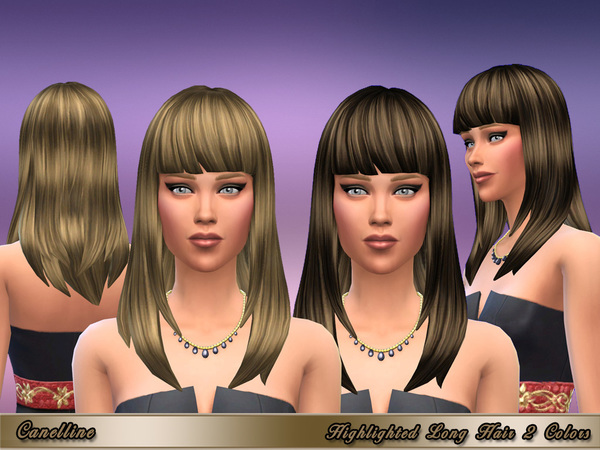 The Sims Resource: Long straight hair with bangs blond and brown retextured by Canelline for Sims 4