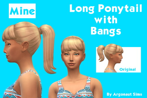Argonaut Sims: New Mesh   Long Ponytail with Bangs hairstyle for Sims 4