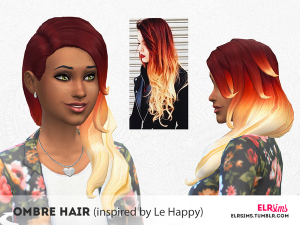 ELR Sims: Ombre Hairstyle inspired by Le Happy by ELRsims for Sims 4