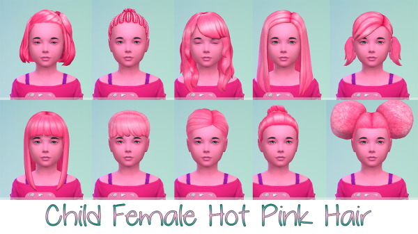 Stars Sugary Pixels: Hot pink hairstyle for Sims 4