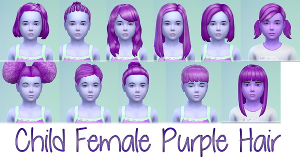 Stars Sugary Pixels: Purple hairstyle for Sims 4