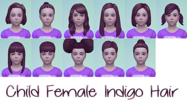 Stars Sugary Pixels: Indigo hairstyle for Sims 4