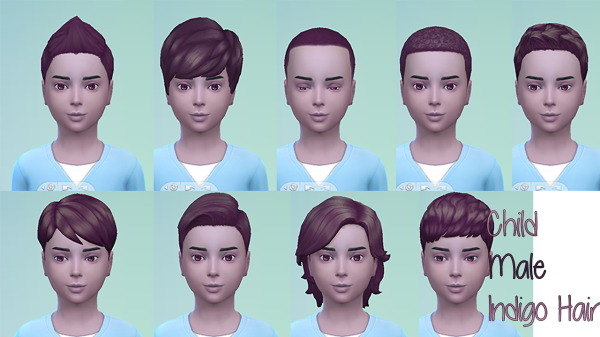 Stars Sugary Pixels: Indigo hairstyle for boys for Sims 4