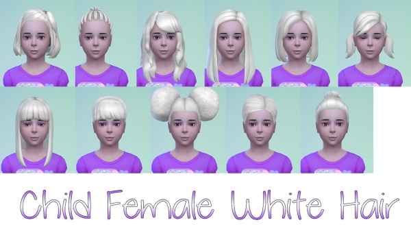 Stars Sugary Pixels: White hairstyle for Sims 4