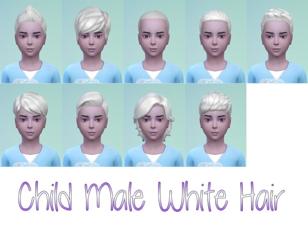 Stars Sugary Pixels: White hairstyle for boys for Sims 4