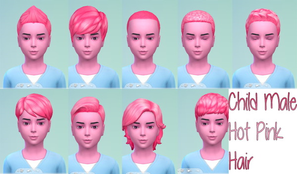 Stars Sugary Pixels: Hot pink hairstyle for boys for Sims 4