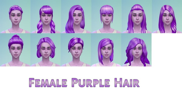 Stars Sugary Pixels: Female purple hairstyle for Sims 4