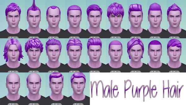 Stars Sugary Pixels: Male purple hairstyle for Sims 4