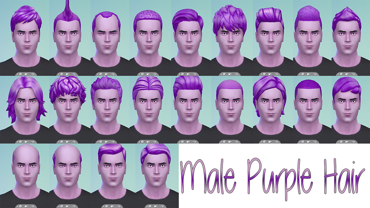 Sims 4 Hairs Stars Sugary Pixels Male Purple Hairstyle