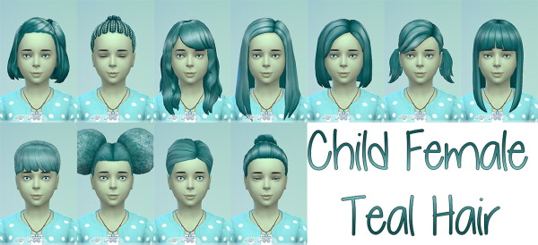 Stars Sugary Pixels: Teal hairstyle for girls for Sims 4