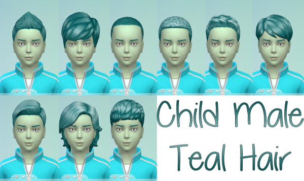 Stars Sugary Pixels: Teal hairstyle for boys for Sims 4