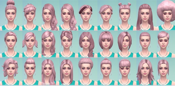Stars Sugary Pixels: Pastel pink hairstyle for Sims 4