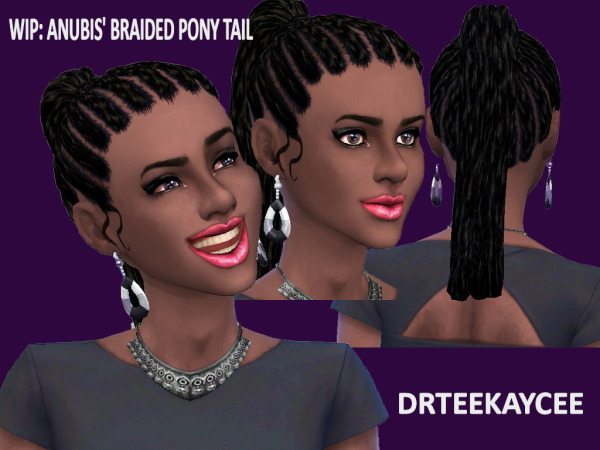 Sim Culture Nation: Anubis braided ponytail hairstyle retextured for Sims 4