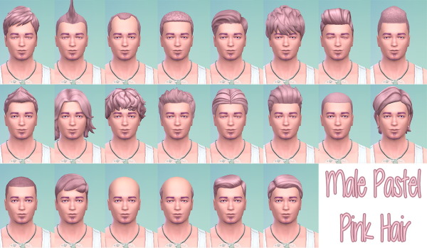 Stars Sugary Pixels: Pastel pink hairstyle for male for Sims 4