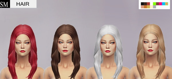 Simmaniacos: Long Wavy hairstyle edit mesh, custom texture and 14 colors for Sims 4