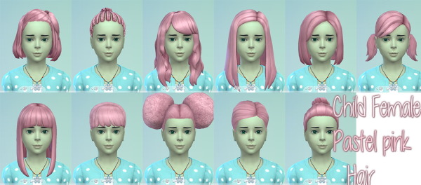 Stars Sugary Pixels: Pastel pink hairstyle for girls for Sims 4