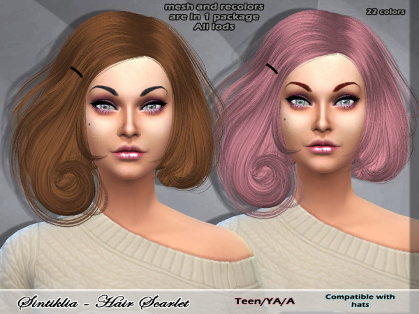 Sintiklia Sims: Scarlet conversion hairstyle from Sims 3 to Sims 4 for Sims 4