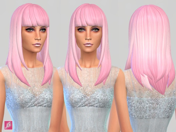 The Sims Resource: Long Straight Bangs by Alexandra Sine for Sims 4