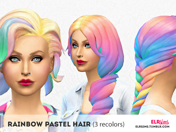 The Sims Resource: Rainbow Pastel Hair by ELR Sims for Sims 4