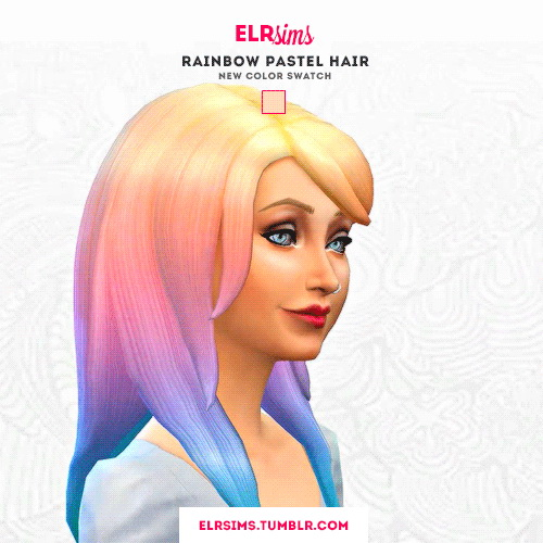 ELR Sims: Rainbow pastel hairstyle   3 recolors for Sims 4