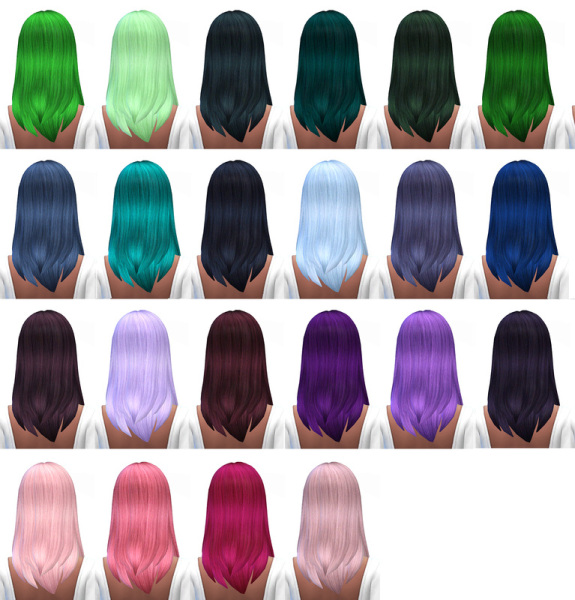 Miss Paraply: Hair retextured 45 colors for Sims 4