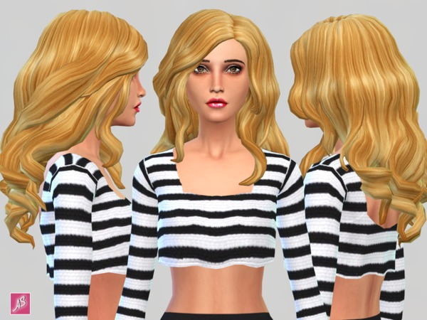 The Sims Resource: Long Wavy Over Shoulder by ALexandra Sine for Sims 4