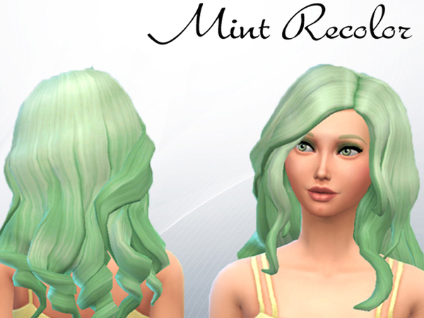 The Sims Resource: Curly Mint hairstyle recolored by KA Sims for Sims 4