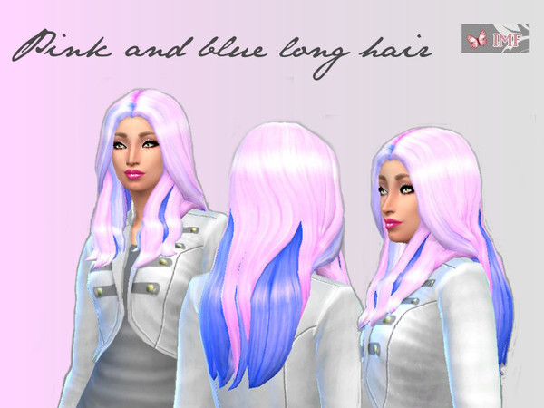 The Sims Resource: Pink and blue long hair by IzzieMcFire for Sims 4