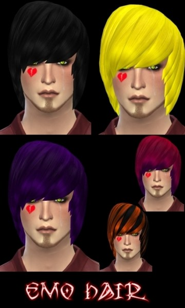 Isolated: David Sims Emo Hairstyle For Males Retextured for Sims 4