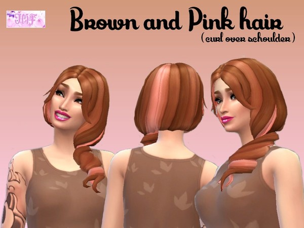 The Sims Resource: Brown and Pink hairstyle recolor by IzzieMcFire for Sims 4