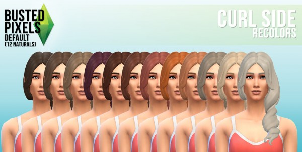 Busted Pixels: Curl side hairstyle recolor for Sims 4