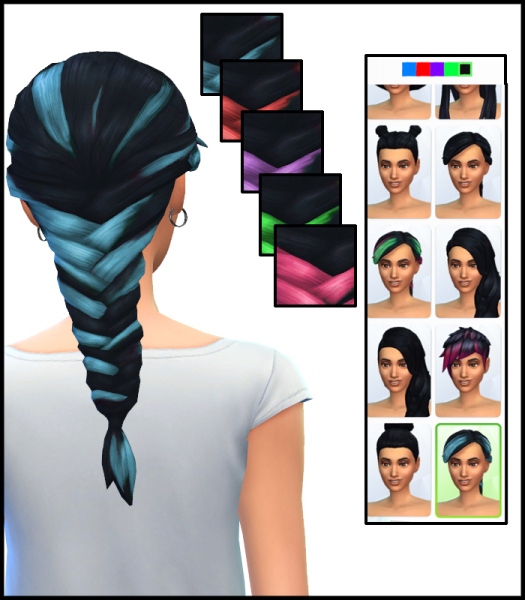 Simista: Better Braid Colours hairstyle for Sims 4
